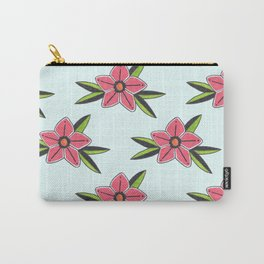 Old school tattoo flower pattern in blue Carry-All Pouch