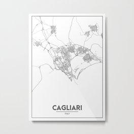 Minimal City Maps - Map Of Cagliari, Italy. Metal Print