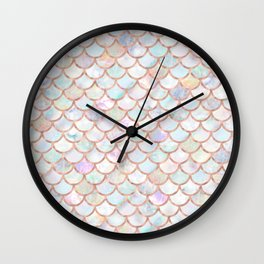 Pastel Memaid Scales Pattern Wall Clock