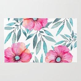 Pink Garden Flowers Rug