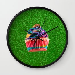Cupcake Love | Rainbow Peanut Butter Cup on Green Sparkle Wall Clock