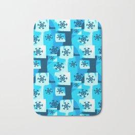Blue Snowflakes Bath Mat