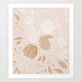 Moon and Stars Rabbits Art Print