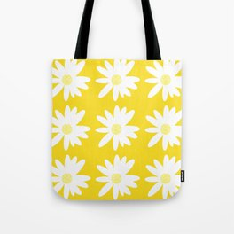 White Daisy Flowers Yellow Background Summer Mood #decor #society6 #buyart Tote Bag
