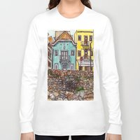portugal Long Sleeve T-shirts featuring Buarcos Buildings, Portugal by Claire Nelson-Esch