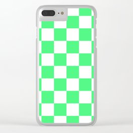 Cheerful Green Checkerboard Pattern Clear iPhone Case
