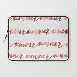 Amour French Love Script Rose Gold Typography Pattern Laptop Sleeve