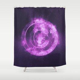 Copyright symbol. Abstract night sky background Shower Curtain