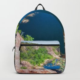 Panoramic view from above at Edith Falls, Australia. Backpack