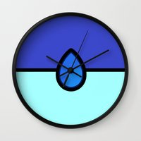 pokeball Wall Clocks featuring Lapis Pokeball by Astral
