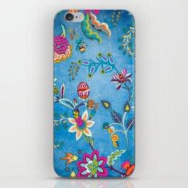 Blue Lapis Velvet Texture Chintz Multicolour Bohemian Floral Pattern iPhone Skin