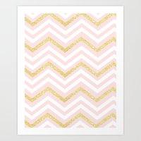Glitter Pink & White Chevron Pattern  Art Print