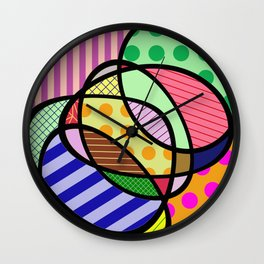 Retro Curves - Big Bold Geometric Patterns Wall Clock