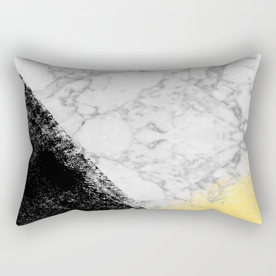 Marble with Black & Gold - gold foil, gold, marble, black and white, trendy, luxe, gold phone Rectangular Pillow