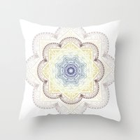 henna Throw Pillows featuring Mandala Henna by Liz Slome