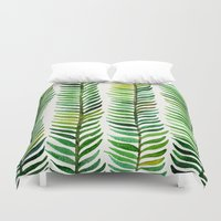mint Duvet Covers featuring Seaweed by Cat Coquillette