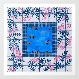 Sorrento Poolside Art Print
