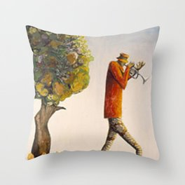 African American Masterpiece 'Walking the South and Playin' Jazz' by Benny Andrews Throw Pillow