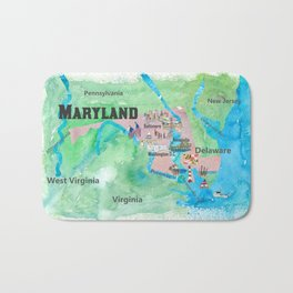USA Maryland State Travel Poster Map with Touristic Highlights Bath Mat