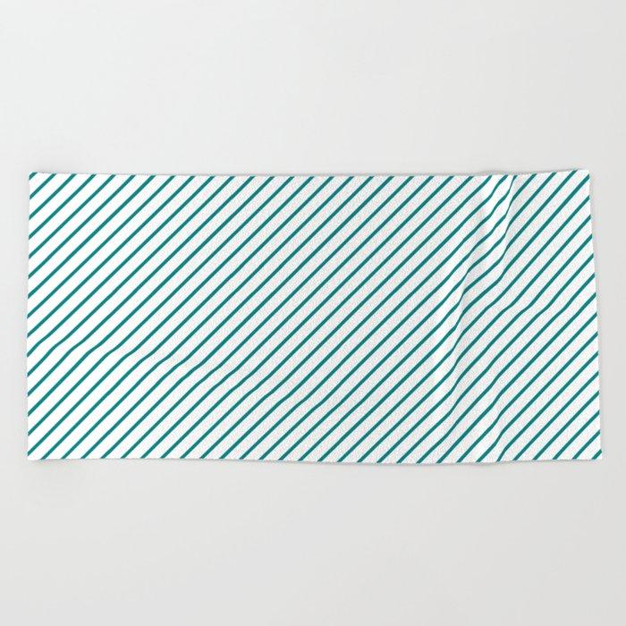 Diagonal Lines (Teal/White) Beach Towel