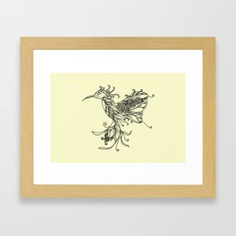 Kolibri Lineart Cream Framed Art Print