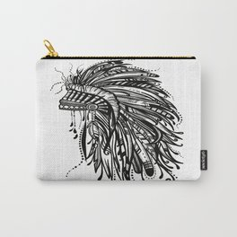 Native American Indian Headdress Warbonnet Black and White Carry-All Pouch