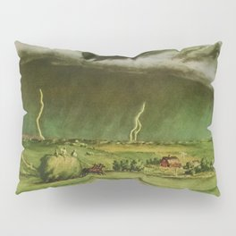 The Line Storm - Thunder and Lightning on the American Plains by John Steuart Curry Pillow Sham
