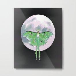 Luna Moth and Moon Metal Print