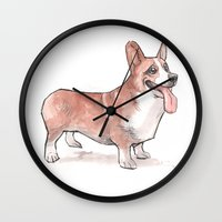 corgi Wall Clocks featuring corgi by Joël Jurion