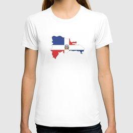 dominican republic flag map T-shirt