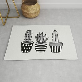 Cactus Plant monochrome cacti nature greyscale illustration floral succulent leaf home wall decor Rug