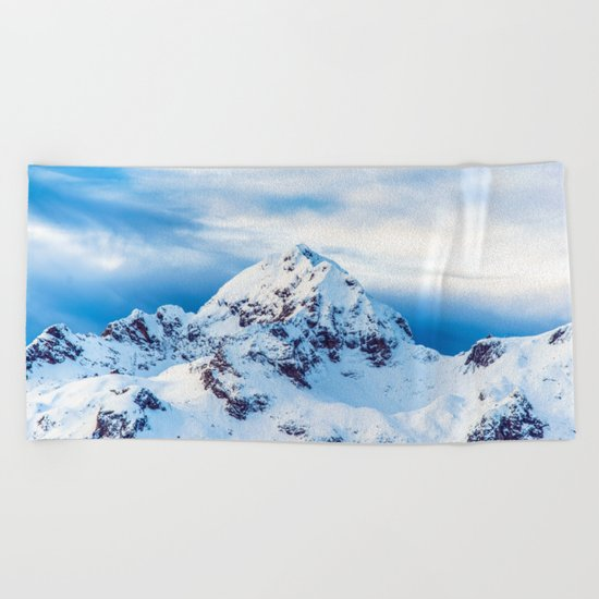 Snow Covered Mountain Beach Towel