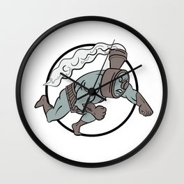 Super Locomotive Punching Cartoon Wall Clock