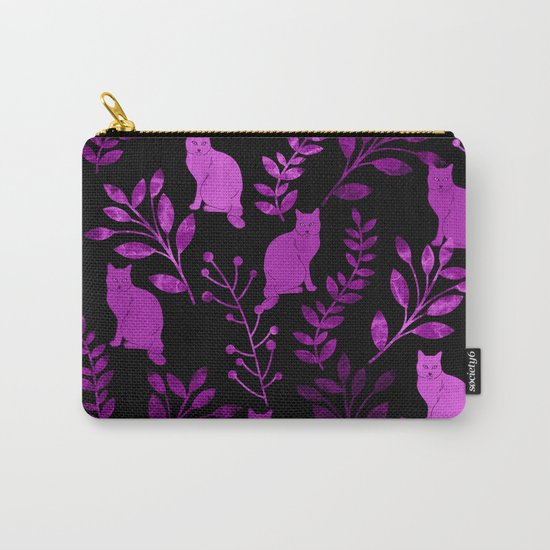 Watercolor Floral and Cat II Carry-All Pouch