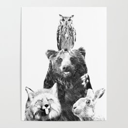 Black and White Woodland Animals Poster