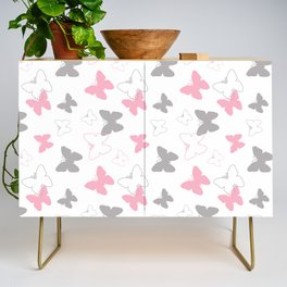 Pink Gray Butterfly Credenza
