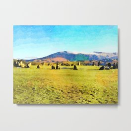 Castlerigg Stone Circle, Keswick, Cumbria, England. Watercolor Painting Metal Print