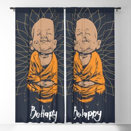 Be Happy Little Buddha Blackout Curtain