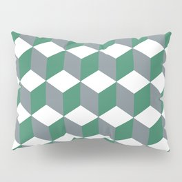 Diamond Repeating Pattern In Quetzal Green and Grey Pillow Sham