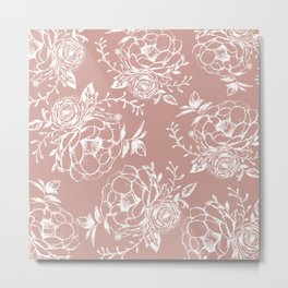 Dark Rose and White Floral Peony Bouquet  Metal Print