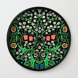 William Morris Jacobean Floral, Black Background Wall Clock