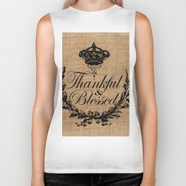 french country jubilee crown thanksgiving fall wreath beige burlap thankful and blessed Biker Tank