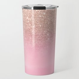 Modern rose gold glitter ombre hand painted pink watercolor Travel Mug
