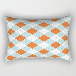 Aqua, Mint and Coral Orange Argyle Pattern Rectangular Pillow
