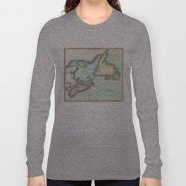 Vintage Map of Nova Scotia and Newfoundland (1807) Long Sleeve T-shirt