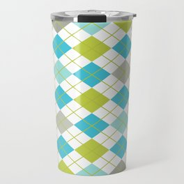 Retro 1980s Argyle Geometric Pattern in Modern Bright Colors Blue Green and Gray Travel Mug