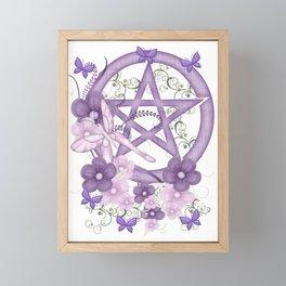 Lilac Pentagram and Butterflies Framed Mini Art Print