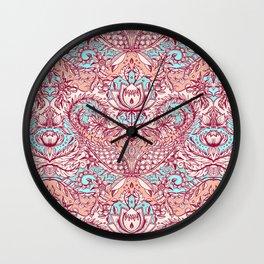 Natural Rhythm - a hand drawn pattern in peach, mint & aqua Wall Clock