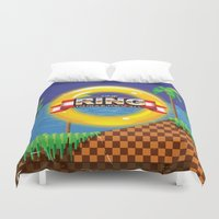 video game Duvet Covers featuring Retro Platform Video game poster  by Nick's Emporium Gallery