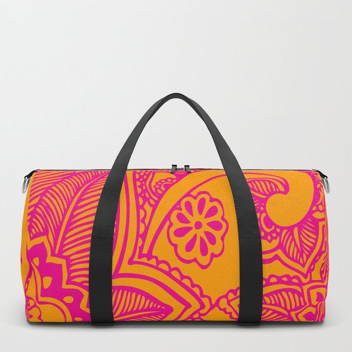 Floral Pattern   Tropical Flower Design   Pink   Orange   Duffle Bag